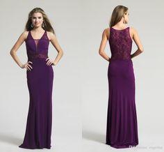 Elegant Sheer V Neck Purple Evening Dresses 2015 New Arrivals Floor Length Girls Party Dresses Sleeveless With Beaded Formal Prom Gowns AH06 from Engerlaa,$113.68 | DHgate.com