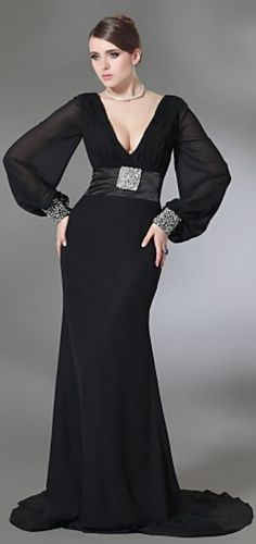 Sexy Black with long sleeves #CDdress #eveningdress