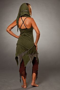 Sleeveless Forest Pixie Dress with Hood by LunaDesignn on Etsy
