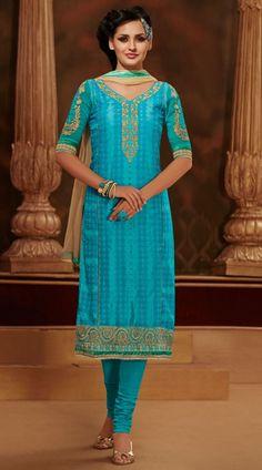 Fantastic Sky Blue Resham Work Cotton Salwar Kameez With Dupatta