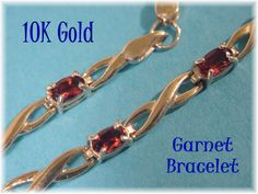 10K Gold - Ruby Red Garnet Gemstone - 3 + Cts Tennis Bracelet - Gift Boxed - January Birthstone  @@ FREE SHIPPING @@