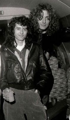 """Jimmy Page & Robert Plant aboard Led Zeppelin's private jet, """"The Starship"""""""