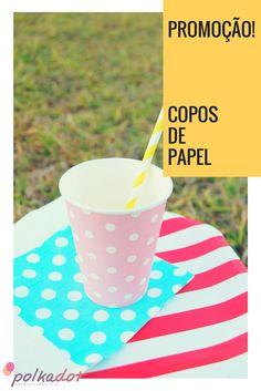 Copos de Papel em promoção no site! #copos #papel #festa #descartáveis #decoração #vintage