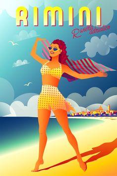 ~ Alver Art Beach Girls, Vintage Travel Posters, Retro Fashion, Trivial Pursuit, Disney Princess, Retro Style, Trending Outfits, Disney Characters, 2d