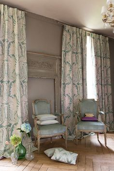 By the Yard-Manuel Canovas Grasse Drapery/Upholstery/Pillow Fabric Gray Interior, Interior Design, Pretty Bedroom, Window Coverings, Window Treatments, Home Hacks, Bedroom Colors, Drapes Curtains, Beautiful Interiors