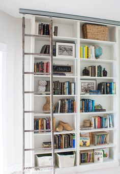 A Burst of Beautiful: Feature Friday: Billy Bookcase Hack with Library Ladder {The Lily Pad Cottage}