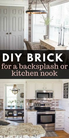 Update your kitchen with an Easy DIY Brick Backsplash! This affordable project is perfect for beginners who are looking for that classic farmhouse style! Brick Kitchen, Farmhouse Decor, Brick Backsplash Kitchen, Backsplash, Farmhouse Style Kitchen, Diy Backsplash, Home Kitchens, Farmhouse Style Diy, Diy Farmhouse Decor