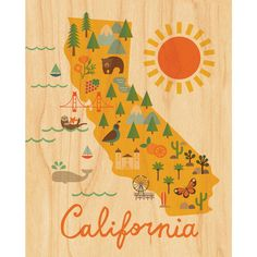Maple Veneer California Map Print by Petit Collage Small Framed Art, Framed Maps, Framed Prints, Modern Kids Wall Decor, Wood Wall Decor, Map Wall Art, Art Wall Kids, California Map, Decoration