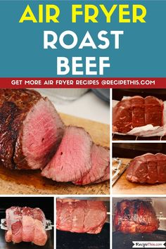 Air Fryer Roast Beef. The most delicious air fryer beef roast cooked in the air fryer oven using the air fryer oven rotisserie. #airfryer #airfryerrecipes #airfryerbeef #airfryerroastbeef Air Fryer Rotisserie Recipes, Air Fryer Oven Recipes, Air Fryer Dinner Recipes, Best Roast Beef, Cooking Roast Beef, Roast Beef Recipes, Burger Recipes, Meat Recipes, Paleo Recipes