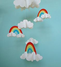 Rainbows and Clouds Hanging Baby Mobile Paper Mobile Nursery Mobile Kids Crafts, Mothers Day Crafts For Kids, Summer Crafts For Kids, Diy And Crafts, Arts And Crafts, Paper Crafts, Rainbow Theme, Rainbow Birthday, Happy Birthday