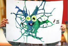 Nous avons utilisé de la peinture orange et jaune , et bleu et vert pour créer ces monstres de goutte à goutte . Les élèves ont ut...