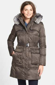 Vince Camuto Belted Quilted Coat with Detachable Faux Fur Trim Hood available at #Nordstrom