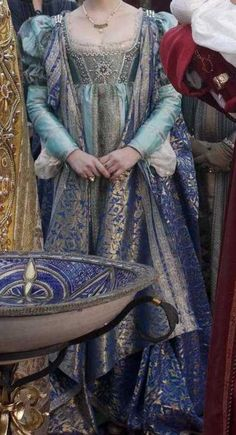 "I like these colors together. Gorgeous Italian Renaissance dress worn by Lucrezia in ""The Borgias."""