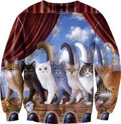 Multicolor Seven Cats Print Unisex Sweatshirt - Sheinside.com