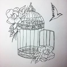 7 day (a bird) - cage with bird. I really suck at drawing birds or animals,so I decided to draw cage ...