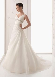 GORGEOUS SATIN ORGANZA SATIN A-LINE V NECKLINE WEDDING DRESS WITH BEADINGS LACE APPLIQUES