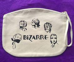 Large box makeup bag/ travel bag/ wash bag, made with organic cotton 100% - Vintage print front & back