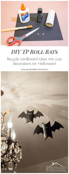 Toilet paper roll bats are the perfect quick and easy Halloween decor, or you can use them as Halloween treat boxes! Make these in just a few minutes! Halloween Treat Boxes, Easy Halloween Decorations, Halloween Party Decor, Holidays Halloween, Fall Halloween, Preschool Decorations, Preschool Art, Easy Diy Crafts, Recycled Crafts