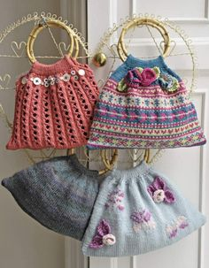 I would like to make one of these knitted bags for myself. Need a pattern and aren't they lovely.