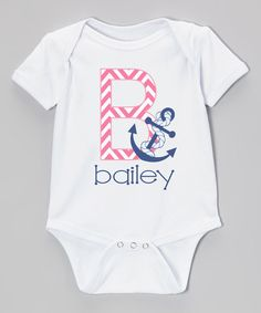 Look at this Initial Request Pink Chevron Anchor Personalized Short-Sleeve Bodysuit - Infant on #zulily today!