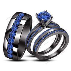 14k Black Gold Plated 925 Silver Trio Ring Set Blue Sapphire 2.75 CT.T.W. #WeddingEngagementAnniversaryBrithdayPartyGift