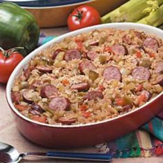 Jambalaya Casserole Recipe.  Very yummy recipe!  Makes 3 pans, so is a freezer recipe. Tips from my sister-in-law, double the sausage and use Botan Calrose rice.