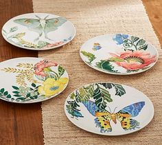 Lyla Garden Butterfly Salad Plates Mixed Set of 4 #potterybarn & Carynthum Flower Salad Plate | Salad plates Earthenware and Flatware
