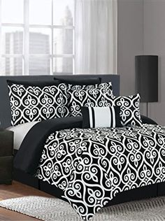 """www.myhabit.com  Create a cozy and comfortable look with this vibrant multi-piece bedding set that includes comforter, (2) pillow shams, (2) pillow cases and 12"""" x 18"""" and 18"""" x 18"""" decorative throw pillows"""
