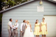 yellow and grey wedding party Yellow Wedding Colors, Yellow Grey Weddings, Gray Weddings, Wedding Vows, Wedding Stuff, Dream Wedding, Groomsmen Tuxedos, French Women Style, Chelsea Wedding