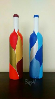 Garrafas pintadas. #paintedwinebottles #decoratedwinebottles