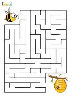 Maze educational plan 8 - Julia Home Preschool Learning Activities, Preschool Activities, Kids Learning, Printable Preschool Worksheets, Worksheets For Kids, Mazes For Kids, Preschool Colors, Bee Theme, Kids Education