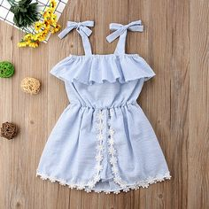The Kiddy Boutique: Stripes Flower Decorated Cold Shoulder Jumpsuits Short Playsuit, Romper Dress, Ruffle Jumpsuit, Matching Family Outfits, Baby Girl Dresses, Baby Girls, Cute Baby Clothes, Summer Clothes, Baby Outfits Newborn