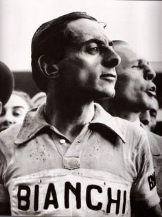 Fausto Coppi ~ Il Campionissimo - winner of the Giro d'Italia and twice winner of the Tour de France Cycling Art, Cycling Jerseys, Road Cycling, Bike Poster, Push Bikes, Vintage Cycles, Cargo Bike, Bicycle Race, Old Bikes