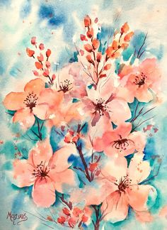 Watercolor Cherry Blossoms Peach Pink by by MarthaKislingArt