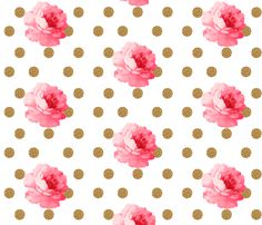 Vintage Pink Flower and Gold Dots fabric by a_joyful_riot on Spoonflower - custom fabric