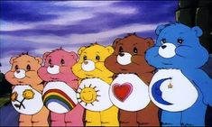 Friendly Bear, Cheer Bear, Sunshine Bear, Tenderheart Bear and Bedtime Bear #CareBears