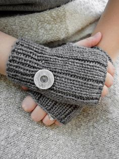 Grey Fingerless Gloves with Button by KnitsDuNord on Etsy