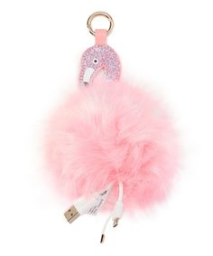 Take a look at this Light Pink Flamingo Pom-Pom Charging Key Chain today!