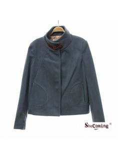 blue stand-up neck pu leather embellished coat