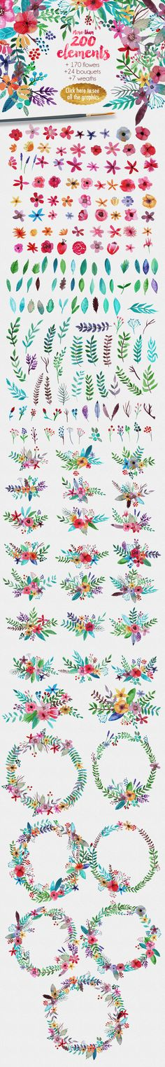 Flowertopia by Mia Charro on @creativemarket                                                                                                                                                                                 More