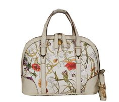 Gucci Vintage Flora Leather Top Handle Bag 309617 OffWhite - $239.00
