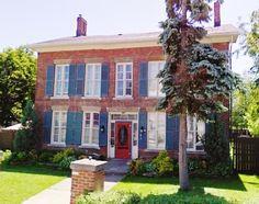 Red Brick Blue Shutters Door Heritage Home Cornwall