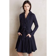 dRa Fayette Trench ($168) ❤ liked on Polyvore featuring outerwear, coats, navy, blue coat, trench coat, navy blue coat, blue trench coat e navy trench coat
