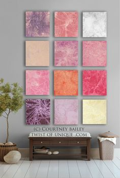 LArge abstract Painting,  12 square ORIGINAL abstract artwork, abstract wall art,- Coral, pink, yellow, purple, orange, rose, white.