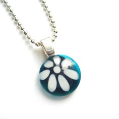 Teal aqua flower pendant  hand painted glass  by azurine on Etsy, $20.00