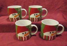 Set of 4 Collectible Crate & Barrel 8 oz. Christmas Snowman Coffee Mugs Cups