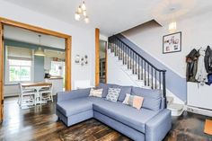 2 bedroom flat for sale in Medwin Street, Clapham - Rightmove. Staircase In Living Room, Victorian Terrace, Sofa, Couch, Living Room Inspiration, House Projects, Open Plan, Brighton, Property For Sale