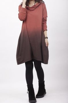 hooded heap collar gradient dress Bottoming shirt by MaLieb, $79.00