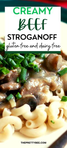 Looking for a good comfort food recipe to try? This is it! Gluten free creamy beef strognoff is a cozy recipe that your whole family will enjoy! Serve over noodles or rice for a comforting winter meal.