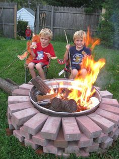Easy, safe backyard firepit.  Old tire ring (check your local junk yard or auto mechanic) and stacked bricks in a circle.  That's it.